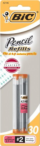 BIC Pencil Lead Refills, Thick Point (0.9mm), 30ct (L930P1)