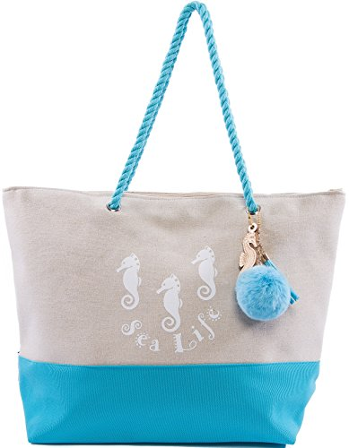 Beach Bag By Pier 17 - Extra Large Canvas Beach Tote, Top Zipper Closure, Rope Handles, 2 Inner Pocket, Wooden Charm, Pom Pom, Built-In Inner Backing for Extra Durability - - Warehouse Bag Beach