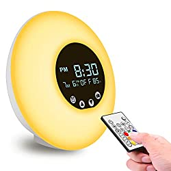 Govee Alarm Clock USB Wake Up Light with Remote & Touch Control by Minger, LCD Display, FM Radio, 9 Color Lights Sunset Sunrise Simulator, Temperature Monitoring, 56 Alarm Sounds to Choose