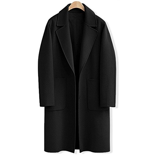 AOMEI Long Oversize Wool Coats For Women Winter Button Closure Black Color Outwear Size XL