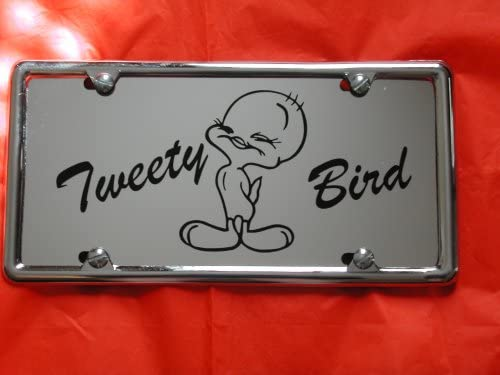 N//C Tweety Bird 3D License Plate Frame Metal Auto License Plate Frame Car Tag Holder