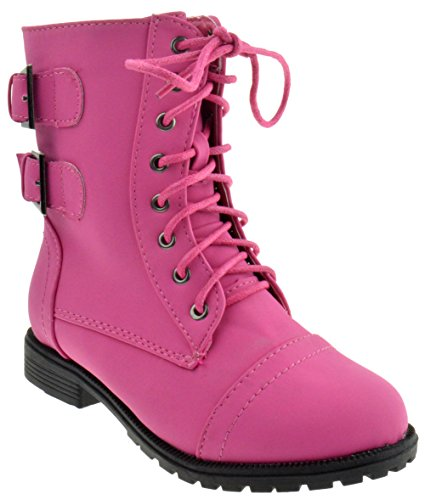 Cozy 91 Girls Lace Up Combat Boots Fuchsia 3