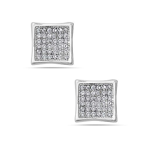 - 925 Solid Sterling Silver Tiny Cubic Zirconia Square Stud Earrings - 9mm CZ Paved Mini Dainty Jewelry