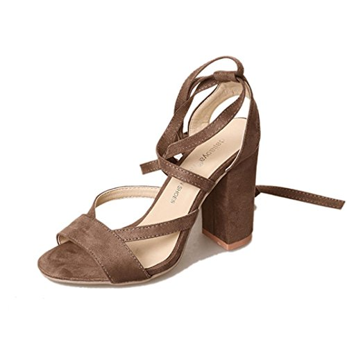New Summer 2018 Women Party Ankle Khaki Work Heel Toe Sandals Heels Shoes Suede Ladies High Spring Office Strap Chunky Momola Pumps Court Open Heel Fashion nHpRfn