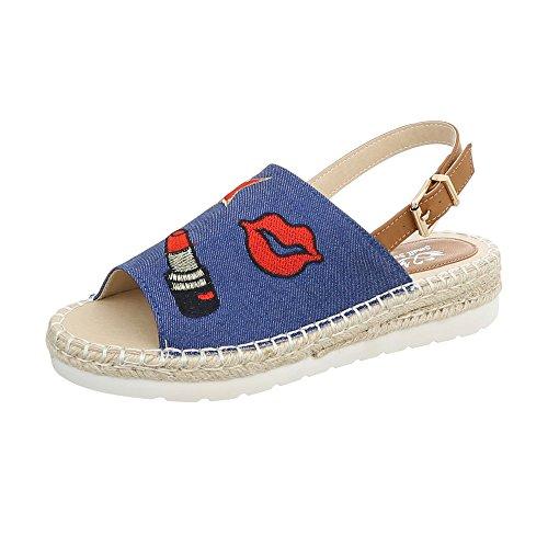 Sandales 09 Chaussures Sandales Plateau Lt Femme Ital Design Plat Bleu vA1ttf