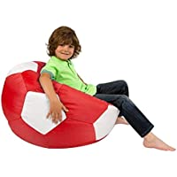 COMFY PVC LEATHER LARGE RED and WHITE FOOTBALL BEAN BAG