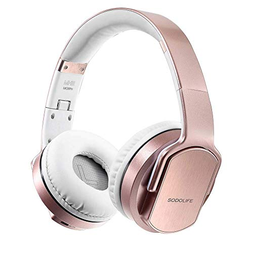 Wireless Over Ear Headphones, SODOLIFE Stereo Bluetooth Headsets with Speaker Function, FM Radio, Support TF Card and Wired AUX Play with Mic for Mobile Phone TV PC Laptop MH2 Rosegold
