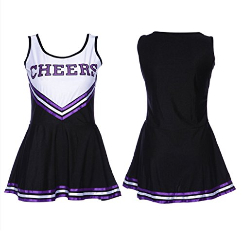 High School Musical Cheerleader Costumes Adults (Peak Women's Football Baby Musical Cheerleader Costume Uniform Fancy Dress Outfit High School Glee Club Costume Vest Skirt Set with Pom Poms (M, Black))
