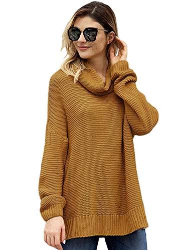 Alto Hem Giallo Maglione Donna Da Americane Europee Pullover A Split Lunghe Maniche E Design Ed Con Collo Ua8Rn