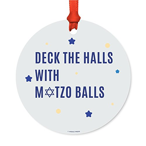 Andaz Press Funny Jewish Family Hanukkah Metal Ornaments, Deck The Halls with Matzo Balls, 1-Pack, Includes Ribbon and Gift Bag, Bar Bat Mitzvah Gift - Family Hall Ornament