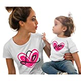 Mommy and Me, Love Print Short Sleeve Mother Daughter Matching T-Shirt Tops for Mother's Day (1-2 Years, White)