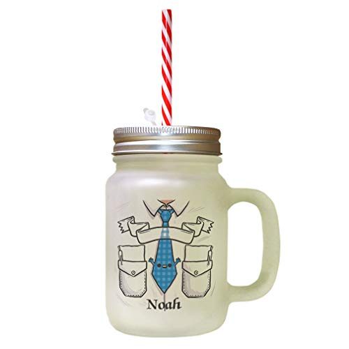 Personalized Custom Characters Noah Pocket Frosted Glass Mason Jar With Straw from Style In Print