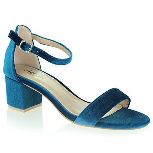 Mujer Señoras Terciopelo Punta Abierta Correa de Tobillo Medio Tacón Bloque Noche Casual Formal Fiesta Calzado Sandalias Zapatos Talla Azul