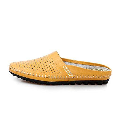 Go Tour Heren Comfortabele Soft Scuff Lederen Slippers Instappers Loafters Schoenen Geel