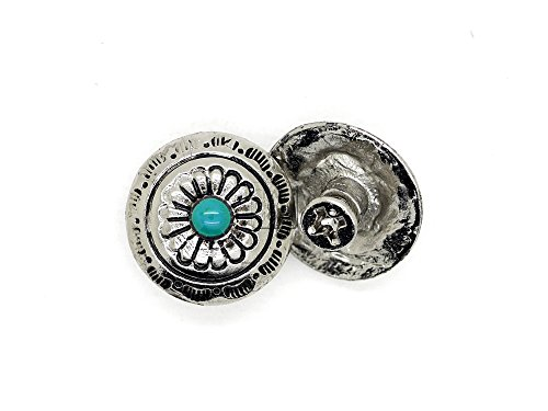 CRAFTMEmore 2PCS 1/2 Inch Flower Conchos Turquoise Dot Round Shape Silver Plated Metal Castings Screw Back Button CHS02 (Silver)