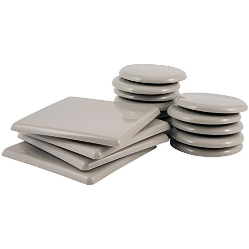SuperSliders 4702995N Reusable Furniture Sliders for Carpet Medium & Large Mover Value Pack- 5 Square & 3-1/2 Round (16 Pieces)