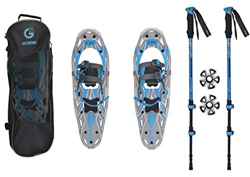 (G2 GO2GETHER Snowshoes kit Adventure Adult (Azure, 25 in, Optimized Weight up to)