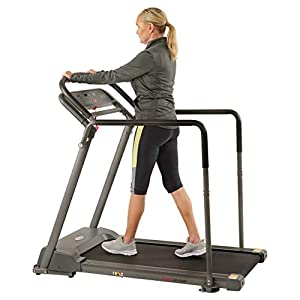 Sunny Health & Fitness Walking Treadmill with Low Wide Deck and Multi-Grip Handrails for Balance, 295 LB Max Weight – SF-T7857,Black