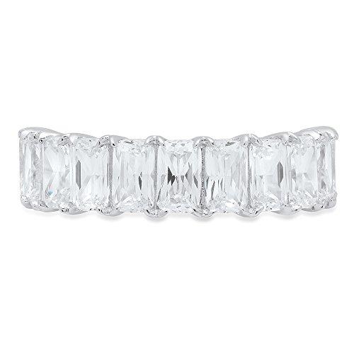 (Clara Pucci 2.70 ct Brilliant Emerald Cut Simulated Diamond CZ Designer Brial Promise Bridal Wedding Band in 14K Solid White Gold )