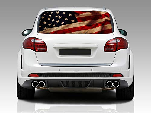 - American Flag Vintage Rear Window Graphic Decal Sticker Car Truck SUV Van US 214, Large