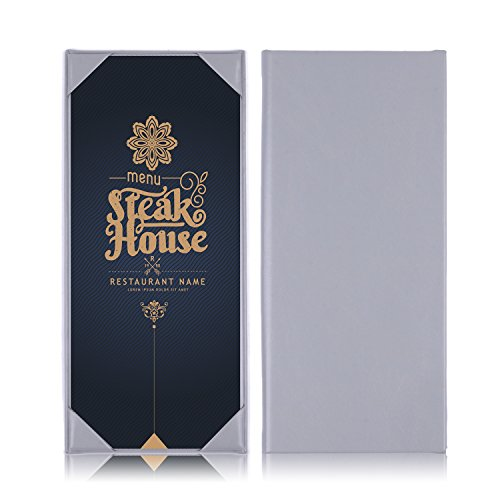 Menu Cover, Leather Menu Holder Single Panel Menu for Restaurant,Hotel,Coffee Shop or Bar -3PCS /11.5×4.7inch by WFD.L