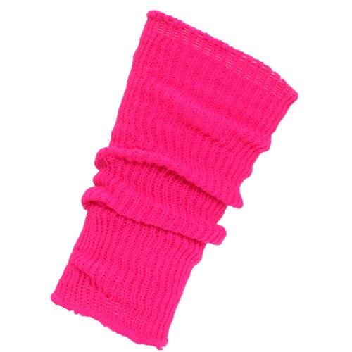 Price comparison product image Big Girls Plain Ribbed Winter Leg Warmers (One Size) (Neon Pink)