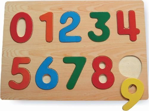 Puzzled Kids Playschool Preschool Raised Puzzle Small - Numbers Wooden Toys ()