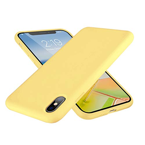SYMOO Case for iPhone Xs Max,Liquid Silicone Case,Full Body Protection Shockproof Cover Case Drop Protection Case for Apple iPhone Xs Max 6.5 inch (Yellow)
