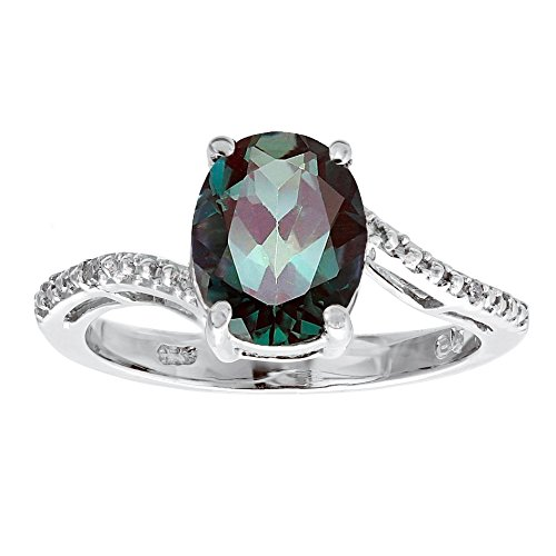 Lavari - 3 Ct Oval Created Alexandrite 1 cttw Diamond 925 Sterling Silver Ring Sz 7