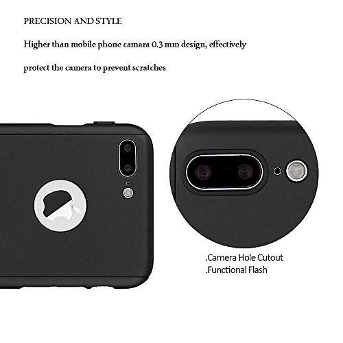 Funda iPhone 5 5s SE 360 Grados Integral Para Ambas Caras + Protector de Pantalla de Vidrio Templado,[ 360 ° ] [ Negro ] Case / Cover / Carcasa iPhone 5 5s SE (2017)