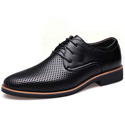 Männer Mesh Derby Schuhe Leder Schuhe Spitze Frühling Sommer schwarz braun Leichte Sohle Dekoration Black