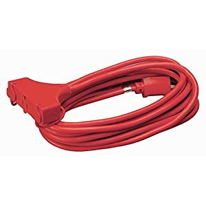 Coleman Cable 04217 14/3 SJTW Vinyl Outdoor Extension Cord, Red, 3-Outlet, 25-Foot