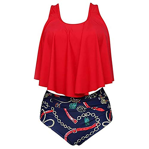 Hot!! Women Sexy Two Piece Swimsuit GoodLock Ladies Fashion Plus Size Backless Halter Dot Printed Swimwear (Red, XXX-Large) ()