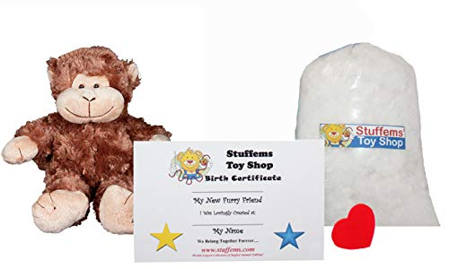 Make Your Own Stuffed Animal Mini 8 Inch Cute Monkey Kit - No Sewing Required! -