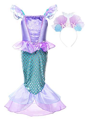 Disfraz Princesa Sirena Vestido Traje Fiesta Cumpleaños para niña