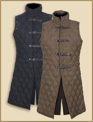Sangamsteelcraft Full Length Gambeson Coat Aketon Jacket Armor, COSTUMES DRESS SCA Medieval Thick Padded Sleeve-Less (X LARGE, BLACK) for $<!--$99.90-->