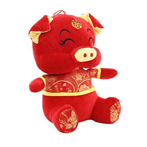 (SUSHAFEN Cute Red Pig Plush Toy 2019 Year of The Pig Mascot Plush Toy Super Soft Pig Doll Pig Bolster Stuffed Animal Pillow Birthday Gift Happy Chinese Pig New Year Home Plush Toy Decoration,10inches )