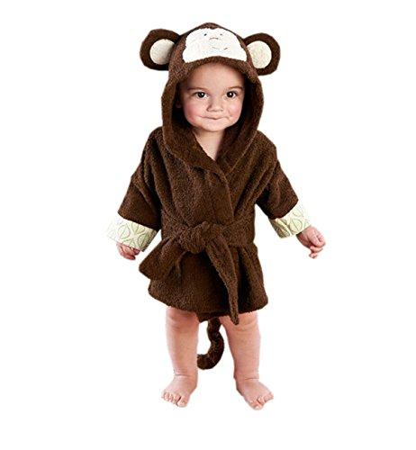 Surenow Children Bathrobe thicken Cute Cartoon Animal Coral Velvet Hooded Towel Bath Robe Warm Spa Robe For 1-6 Years Old