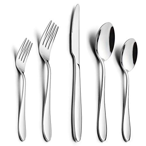 60-Piece Silverware Set, HaWare Stainless Steel Modern Elegant Flatware Cutlery Set, Service for 12, Dinner Knives/Spoons/Forks, Mirror Polished, Dishwasher Safe