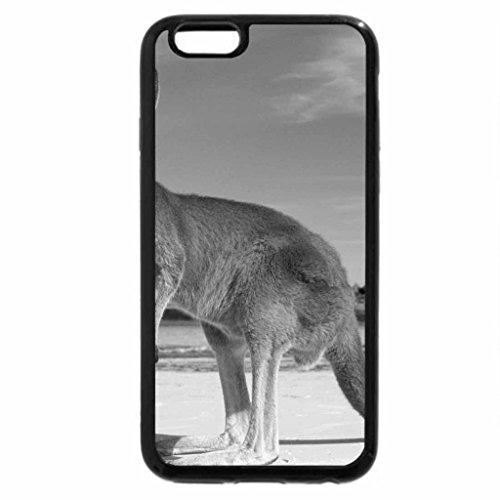 iPhone 6S Case, iPhone 6 Case (Black & White) - Kangaroo on the beach