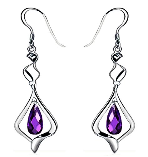 Crystal Fashion Dangle Earrings - Mother Day Gift 18k Gold Plated Purple Crystal Fashion 925 Sterling Silver Dangle Earrings for Women
