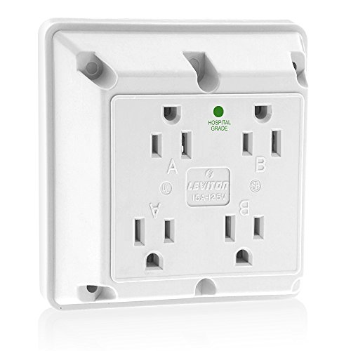 Hospital Grade Receptacle (Leviton 1254-HW 15 Amp, 125 Volt, Industrial Series Extra Heavy Duty Hospital Grade, 4-In-1 Receptacle, Straight Blade, Grounding, White)