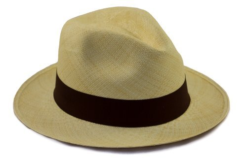 Tumia - Fedora Panama Hat - Natural with Brown Band - Lightweight Rollable  Version. 54cm 6097d5124f18