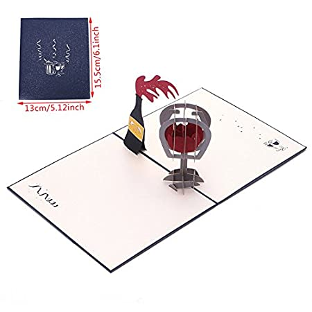 Kofun Fathers Day Gifts Greeting Card With Envelope 3d Red Wine