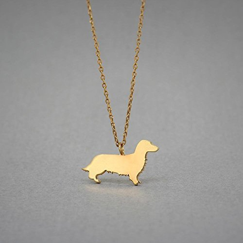 14K GOLD Personalised LONGHAIRED DACHSHUND Necklace - Dahshund Name Jewelry - Gold Necklace- Dog Jewelry - Dog breed Necklace - Dog Necklaces by Hudoca Design