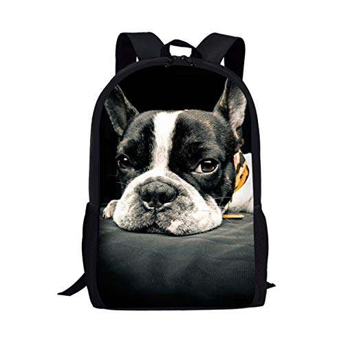 Boston Terrier Dog Print Kid Book Bag School Backpack with Adjustable Shoulder Strap