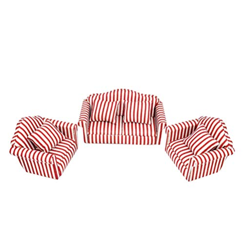 NUOBESTY Mini Dollhouse Furniture Plaid Stripe Cloth Sofa Couch Set with 4 Back Cushions for Girl Doll House Toys