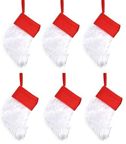 Welldone Customized Name Christimas Stocking Faux Fur Cuff Holiday Party Xmas Tree Fireplace Decor White (Mini Needlepoint Christmas Stocking)