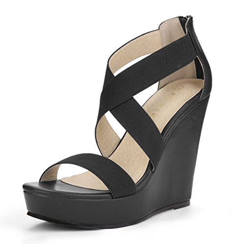 Allegra K Sandales Compensées Croisées Femme Noires