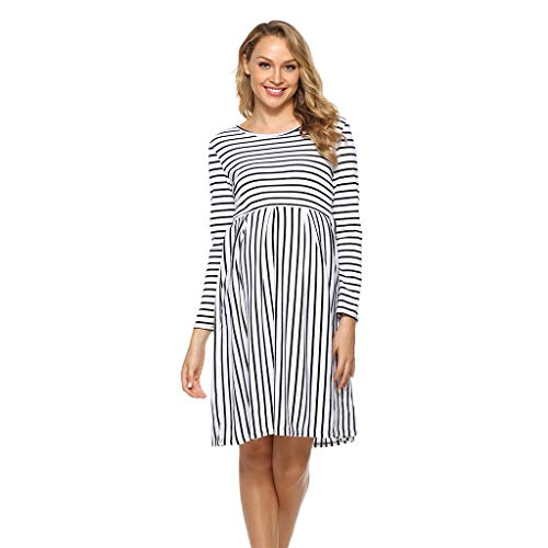 Maternity Midi Dress,Crytech Comfy Long Sleeve Stripe Patchwork Knee Length Dress Pregnancy Casual Loose Round Neck Nightdress for Hospital Delivery Sleepwear for Pregnant Women (Large, Black)